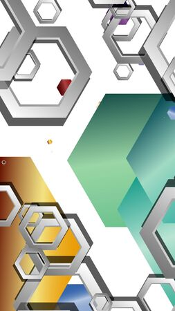Abstract geometric background with hexagon jewels color compositions. Vector illustration Фото со стока - 129748065