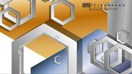Abstract geometric background with hexagon metal color composition. Vector illustration  イラスト・ベクター素材