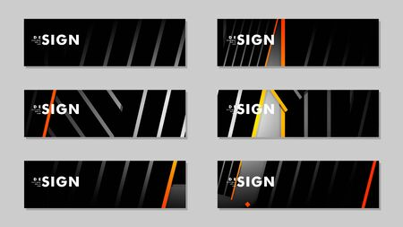 A set of modern vector banners with a line background