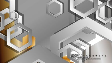 Abstract geometric background with hexagon metal color composition. Vector illustration Foto de archivo - 129739412