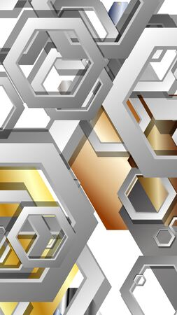 Abstract geometric background with hexagon metal color composition. Vector illustration Foto de archivo - 129739421