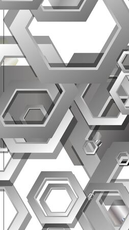 Abstract geometric background with hexagon metal color composition. Vector illustration Foto de archivo - 129739423