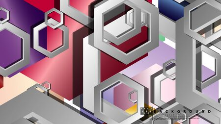 Abstract geometric background with hexagon jewels color compositions. Vector illustration Фото со стока - 129738802