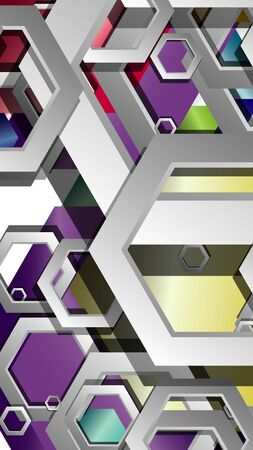 Abstract geometric background with hexagon jewels color compositions. Vector illustration Фото со стока - 129739430