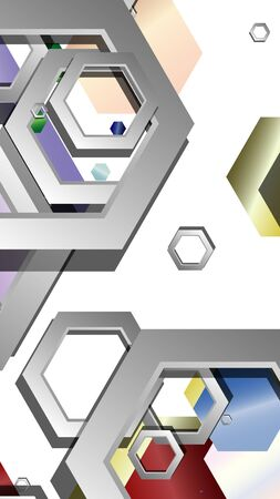 Abstract geometric background with hexagon jewels color compositions. Vector illustration Фото со стока - 129739010