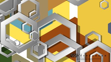 Abstract geometric background with hexagon, middle ages color composition. Vector illustration