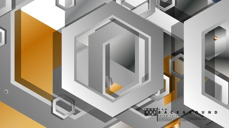 Abstract geometric background with hexagon metal color composition. Vector illustration Ilustração