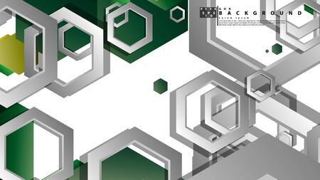 Abstract geometric background with hexagons, foliage color composition. Vector illustration  イラスト・ベクター素材