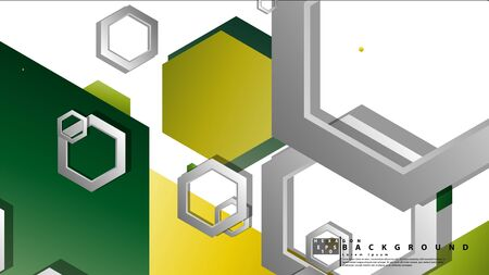 Abstract geometric background with hexagons, foliage color composition. Vector illustration Ilustração