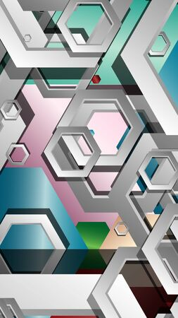 Abstract geometric background with hexagon jewels color compositions. Vector illustration Ilustração