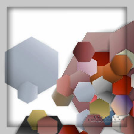 abstract vector hexagon background with color stone and brick gradient and shadow Banco de Imagens - 129530279