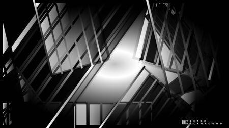 Lines on black background - Illustration . strips black background banner vector illustration  イラスト・ベクター素材