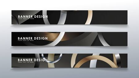 Set rectangular banner with a circle background. neutral color gradient  イラスト・ベクター素材
