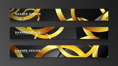 Abstract circle banner. Fancy vector illustration. golden circle on a dark background