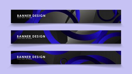 Set rectangular vector banners with background of dark blue circles 向量圖像