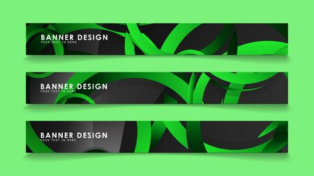 Set rectangular vector banners with background of dark green circles