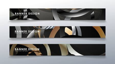 Set rectangular banner with a circle background. neutral color gradient 矢量图像