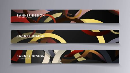 Rectangular vector banners against the background of stacked rings. composition of stone and brick colors Vektoros illusztráció