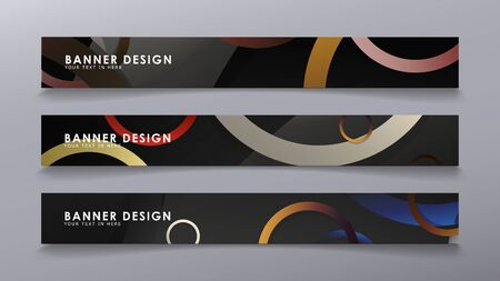 Rectangular vector banners against the background of stacked rings. composition of stone and brick colors