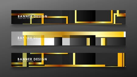 Set a banner with a rectangular background in gold and dark . vector illustration