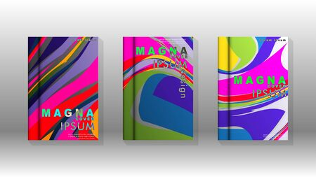 Abstract cover with wave elements. book design concept. Futuristic business layout. Digital poster template. Design Vector Vetores