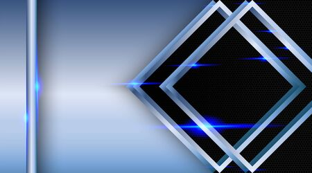 Overlapping and fancy background layers. Realistic blue layer with light effects on a textured black hexagon background.  イラスト・ベクター素材