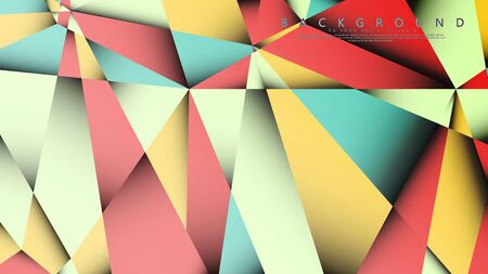 Vector Background of the Mosaic Triangle with a combination of pastel blue, red and yellow. Geometric illustration style with gradients and transparency.