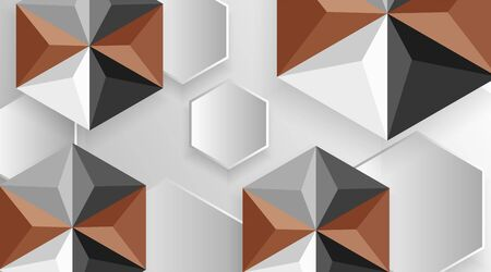 Abstract geometric background. 3D vector illustration. hexagon shape with a shadow