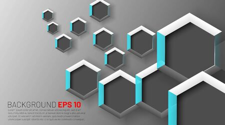Abstract gray hexagon with a white background. Geometric elements of design for modern communication, technology, digital, medicine, science concepts. Vector illustration  イラスト・ベクター素材