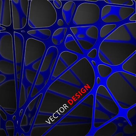 Abstract dark blue background lines overlapping 3D Graphic Paper  イラスト・ベクター素材