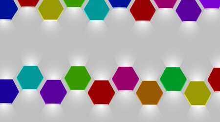 Colorful and luminous hexagon lantern vector lights