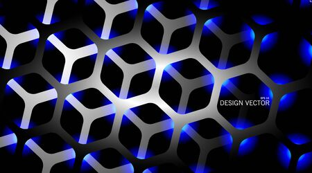 The hexagon vector background is dark gray with light blue and overlapping