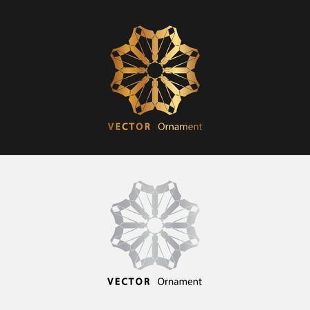 Mandala. Gold round ornament pattern on black background.