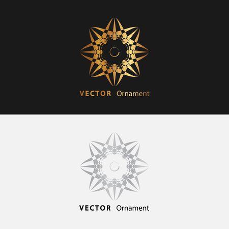 Mandalas. Goldrundes Ornamentmuster auf schwarzem Hintergrund. Vektorgrafik