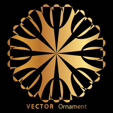 vector illustration mandala. Golden floral pattern. Oriental silhouette ornament.coaster design. Ilustração