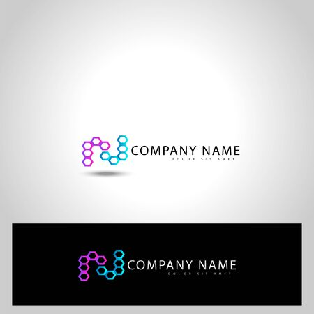 Initial letter R J vector graphic design illustration, with hexagon shape Ilustração