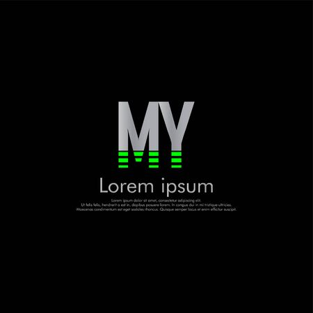 M Y MY Vector initial abstract concept for your company. cut font, black background