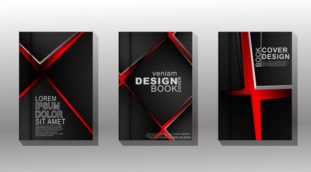 Vector illustration with minimal book cover design. set of overlapping square covers with a dark red background