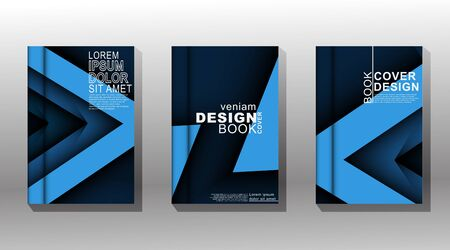 Minimal book cover design with a template with a blue textured shape. Vector illustration