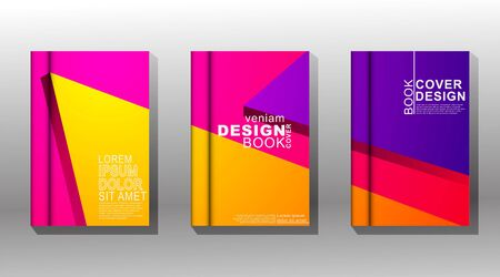Minimal book cover design with geometric shapes. colorful vector design Illusztráció