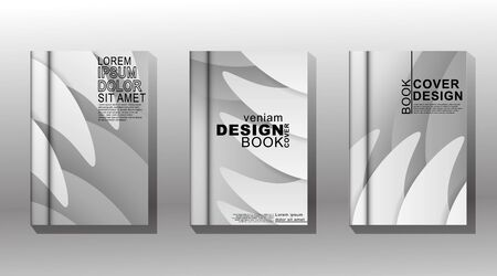 Minimalist book cover design with white, gray, and stacked waves. vector design