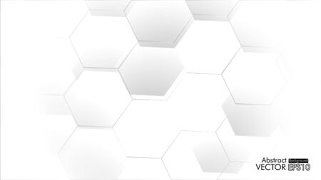 Abstract. Embossed Hexagon , honeycomb white Background ,light and shadow ,Vector Vectores