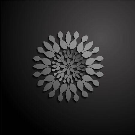 vector illustration mandala. Grey floral pattern. Oriental silhouette ornament.coaster design. Иллюстрация