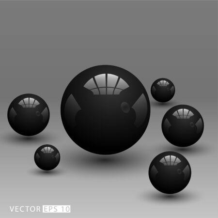 Realistic 3D black ball. Vector illustration