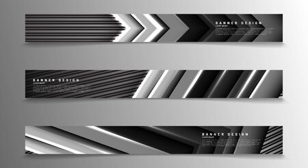 Collection of abstract carbon fiber header banners in gray vector illustration