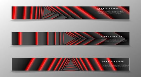 Collection of modern abstract style banners. The optical illusion pattern of a triangle lights up in dark red. Vector illustration Иллюстрация