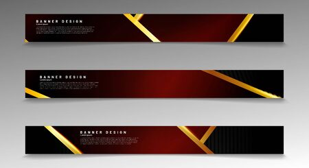 Collection of modern abstract style banners. golden stripe and red gradient with black background. Vector illustration