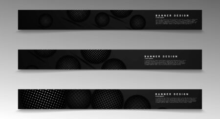 Collection of modern abstract style banners. 3D dark circle pattern. Vector illustration