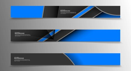 Collection of rectangular banners. Geometric shapes overlap in blue. vector design