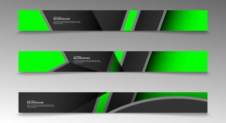Collection of rectangular banners. Geometric shapes overlap in green. vector design